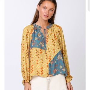 CURRENT AIR Mixed Print Blouse